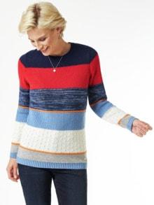Streifen Struktur-Mix Pullover