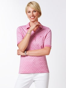 Extraglatt Polo Jacquard Pique Pink Detail 1