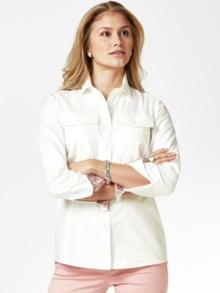 Pima-Cotton-Hemdbluse Palme Weiß Detail 1