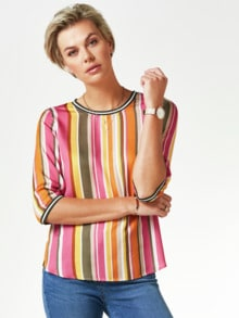 Viskose-Shirtbluse Bella Vita Streifen Pink Detail 1