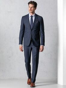 Schurwoll Anzug Super 100 Dunkelblau