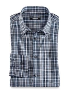 Extraglatt-Hemd Soft Twill Überkaro Grau Blau Detail 1