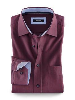 Leichtflanell-Hemd Bordeaux Detail 1