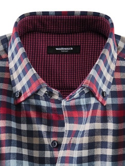 Thermohemd Doubleface Blau/Rot Detail 4