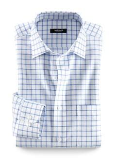 30-Grad-Business-Hemd Weiß/Blau kariert Detail 1