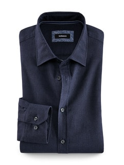 Denim-Leinenhemd Regular Fit Dark Blue Detail 1