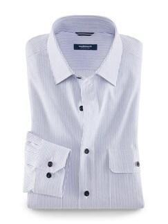 Seersucker-Tourenhemd Streifen Blau/Weiß Detail 1
