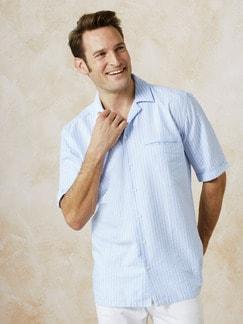 Kurzarm-Shirt Riviera Hellblau/Weiß Detail 2