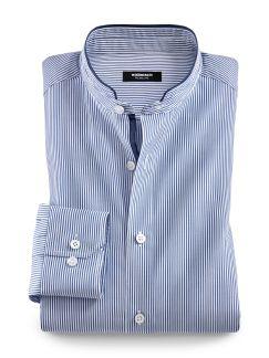 Stehkragen Hanseatic-Shirt Streifen Blau Detail 1