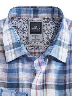 Baumwoll-Leinen-Hemd Karo Blau/Beige Detail 4