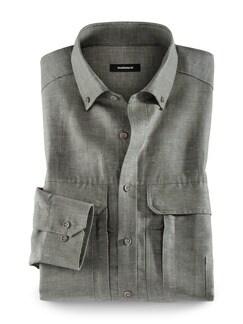 10-Taschen-Safarihemd Oliv Detail 1