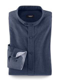 Stehkragen Nordkap-Shirt Blau Detail 1