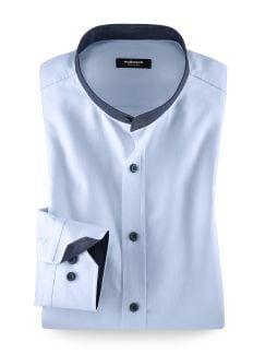 Stehkragen Oxford-Shirt Hellblau Detail 1