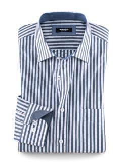 Fil-Coupe-Streifenhemd Blau/Weiß Detail 1