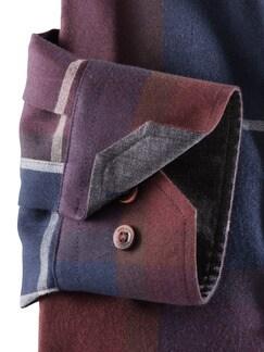 Flanell-Hemd Cashmere-Blend Blau/Weinrot Detail 4