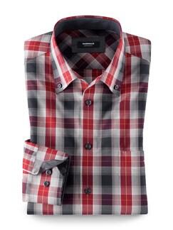 Extraglatt-Hemd Button-Down Karo Rot/Blau Detail 1