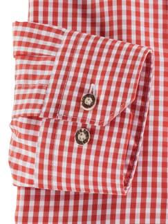 Stehkragen Wiesenhemd Karo Orange Detail 4