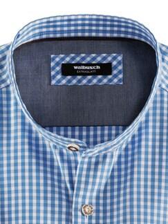 Stehkragen Wiesenhemd Karo Blau Detail 3