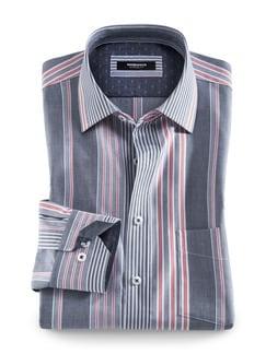 Extraglatt-Hemd Toskana Streifen Blau Detail 1