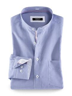 Extraglatt-Hemd Wechselkragen Blau kariert Detail 1