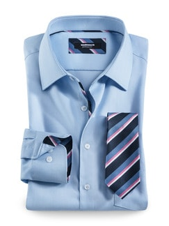 Extraglatt-Krawatten-Hemd Oxford Hellblau Detail 1