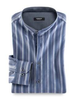 Dobbystreifen Shirt Blau Detail 1