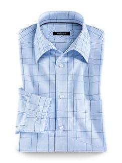 Fleckschutz-Hemd Karo Blau/Rose Detail 1