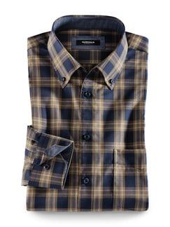 Extraglatt-Hemd Button-Down Karo Navy/Braun Detail 1