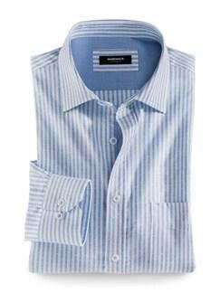 Extraglatt-Hemd Oxford Streifen Blau/Weiss Detail 1
