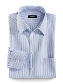 Extraglatt-Hemd Walbusch-Kragen Streifen Blau Detail 1