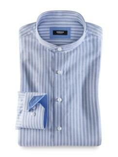 Extraglatt Stehkragen-Hemd Streifen H.Blau Detail 1