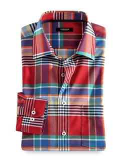 Extraglatt-Hemd Oxford Madraskaro Rot/Blau Detail 1