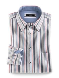 Extraglatt-Hemd Button Down Streifen Navy/Rot Detail 1