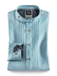 Leinen-Trachtenhemd Aqua Detail 1