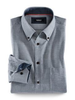 Softcotton-Hemd Minikaro Blau Detail 1