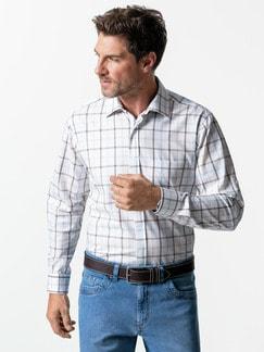 Reißverschluss-Hemd Tropical Weiß/Braun Detail 2