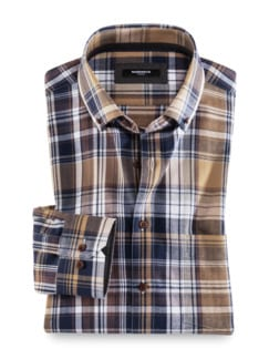 Flanell-Hemd Cashmere-Blend Beige/Braun Detail 1