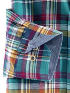 Baumwoll-Seiden-Hemd Fensterkaro Detail 4