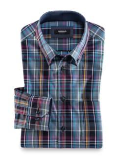 Extraglatt-Hemd Button Down Karo Blau Beere Detail 1