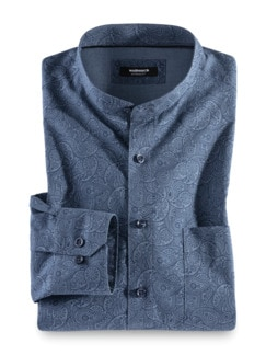 Extraglatt Stehkragen-Hemd Paisley Blau Detail 1