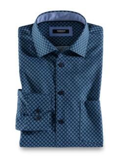 Extraglatt-Hemd Druck Blau/Grün Detail 1