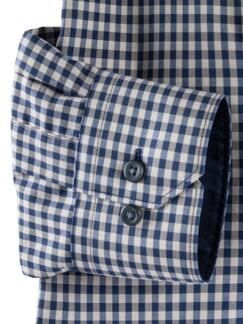 Extraglatt-Hemd Memory-Vichy Beige/Blau Detail 4