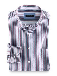 Seersucker-Hemd Stehkragen Streifen Blau Detail 1
