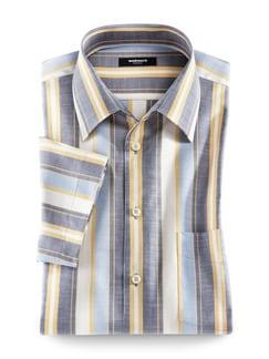 Extraglatt-Hemd Tropical Blau/Gelb Detail 1