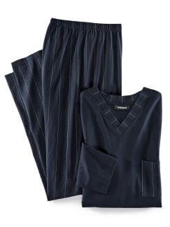 Schlafanzug Gentleman Marine Detail 1
