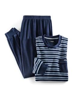 Frotteestreifen-Schlafanzug Marine/Blau Detail 1