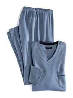 Wohlfühl-Schlafanzug Easycare Jeansblau Detail 1