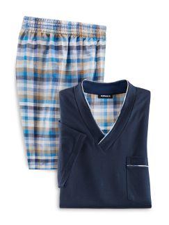Shorty Klima Komfort Blau/Beige Detail 1