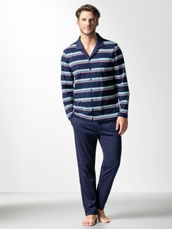 Streifen-Pyjama Bottone Marine Detail 2