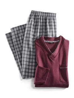 Schlafanzug Perfect Match Bordeaux/Beige Detail 1
